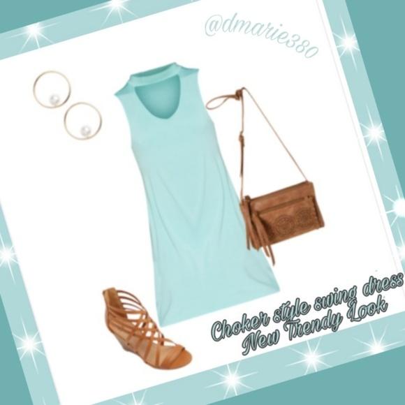 🌟 trendy cutout choker style Swing Dress 🌟